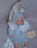 Baby On Moon Rabbit Musical Decorative Ornament Doll Boy Blue Christening New Baby Gift