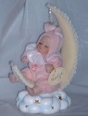 Baby On Moon Rabbit Musical Decorative Ornament Doll Girl Pink Christening New Baby Gift