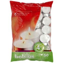 Bolsius 38mm Tealight Candles Unscented Plain White Tealights 4hr Burn Pack 50