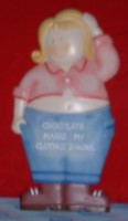 "Homespun Weight Watchers Message Plaque Novelty Resin Wall Sign ""Chocolate makes my clothes shrink"""