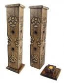 Incense Stick Burners Wooden Ash Catchers and Cone Burners Celtic Wood Tower