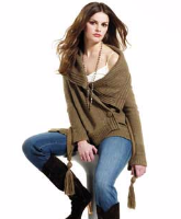 Morgan Ladies Fossile Brown Wide Shawl Collar Wrap Cardigan Size (S) Small RRP £64.99