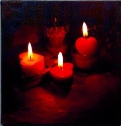 Snowtime Battery Operated Wall Canvas 6 LED Candle Picture 30 x 30 (1)